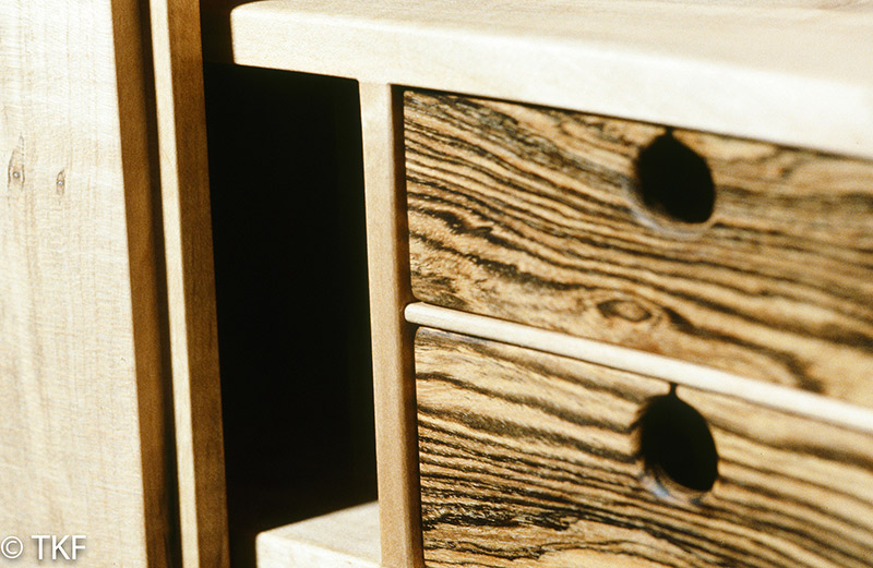 Concave Figured Maple Wall Cabinet